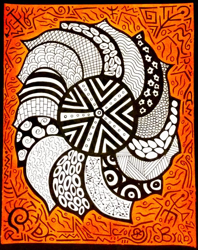 Colorminazione - Pintadera mandala arancio