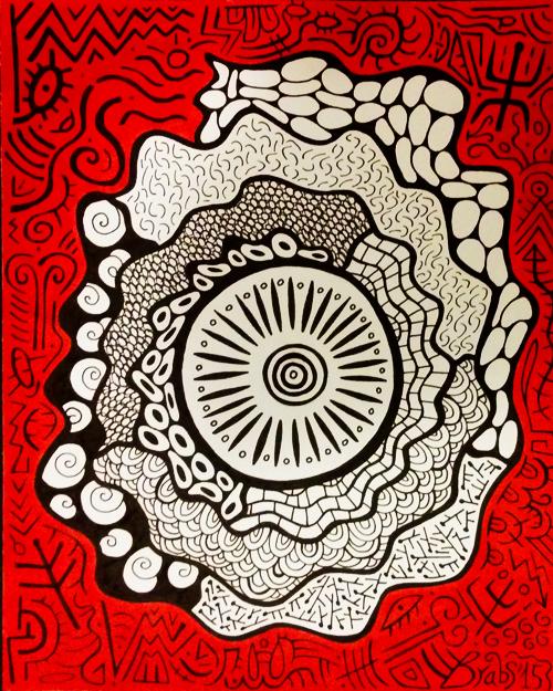 Colorminazione - Pintadera mandala (rossa)