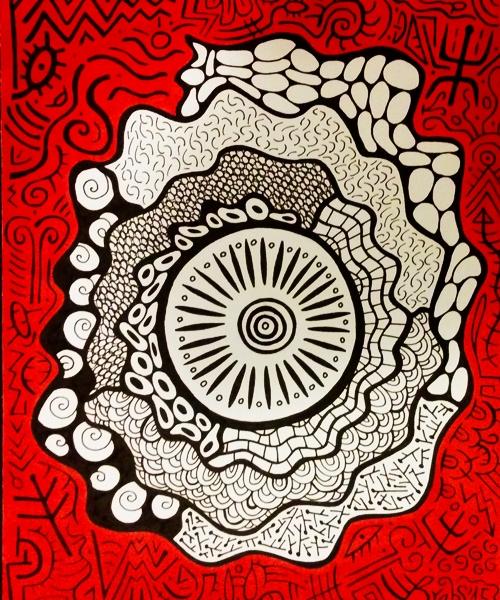 Colorminazione - Pintadera mandala (red)