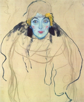 Gustav Klimt - Portrait of a Lady, en face (unfinished) (1917)