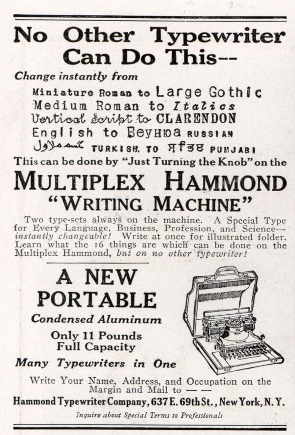 Macchina da scrivere con più tipi di carattere, 1918