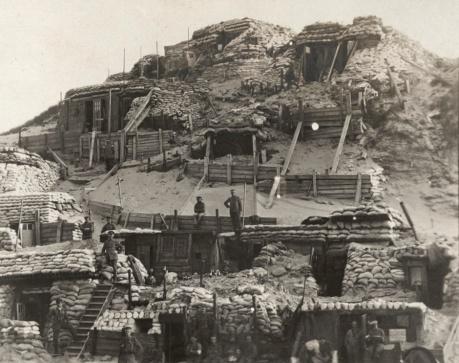 Un posto di osservazione tedesco sul fronte Yser, Belgio 1917