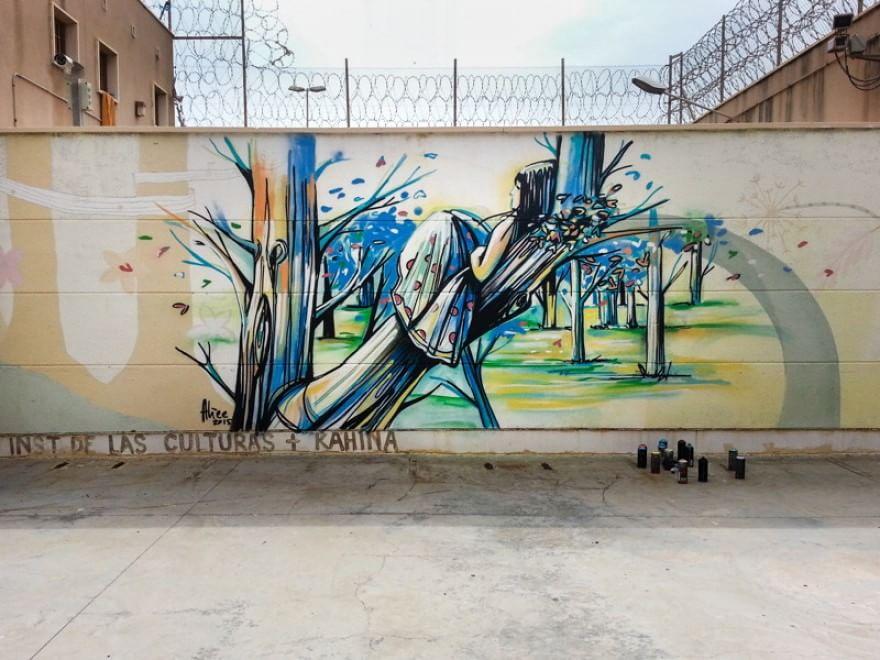 Nuovi lavoridell'artista italiana Alice Pasquini (aka AliCè) a Melilla