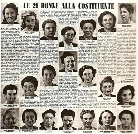 Alla elezioni del 2 giugno 1946 - per la prima volta nella nostra storia - partecipano le donne - votano 12.998.131 cittadine italiane