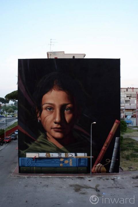 Jorit Agoch, Ael, Tutt'egual song'e criature, 2015 – Napoli – © Inward