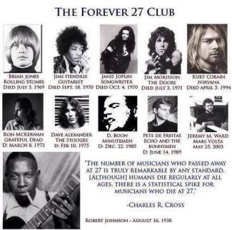 The Forever 27 Club . lista personaggi celebri morti a 27 anni