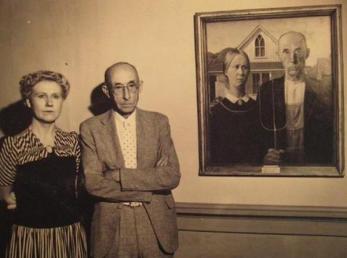 """I modelli di """"American Gothic"""" (Grant Wood) 1930 circa"""