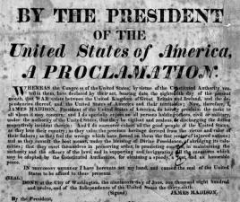 Gli Stati Uniti dichiarano guerra alla Gran Bretagna, il Canada e l'Irlanda, dando inizio alla guerra del 1812