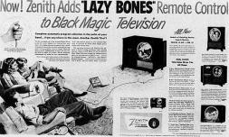 """Zenith Radio Corporation ha introdotto il primo telecomando della televisione del mondo nel 1950. Il """"Lazy Bones"""""""