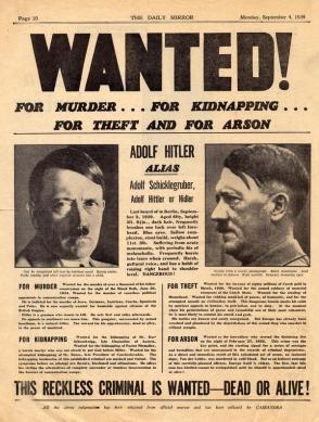Propaganda Anti Nazi - Manifesto da ricercato di Hitler - 1939