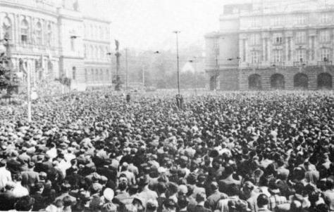 Protesta ceca contro l'aggressione tedesca, Praga, 1938