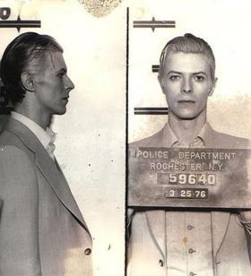 David Bowie Mugshot, Rochester NY 1976