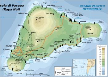 Isola di Pasqua - Mappa delle statue