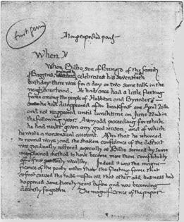 La prima pagina originale de Il Signore degli Anelli di Tolkien, 1937