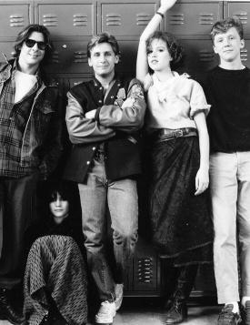 Judd Nelson, Emilio Estevez, Molly Ringwald, Anthony Michael Hall e Ally Sheedy, 1985