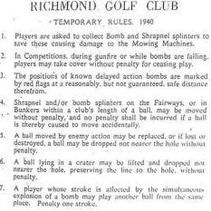 Regole provvisorie al Richmond Golf Club (Gran Bretagna) dopo le bombe tedesche del 1940
