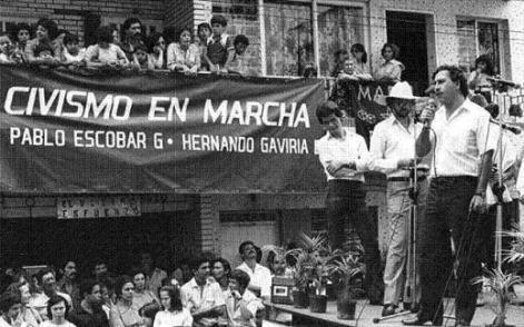 1982 Pablo Escobar al servizio del Partito Liberale Colombiano, in Camera dei rappresentanti della Colombia