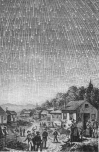 Un disegno della tempesta di meteore del 1833. Si stima che fossero visibili circa 100000 meteore all'ora.