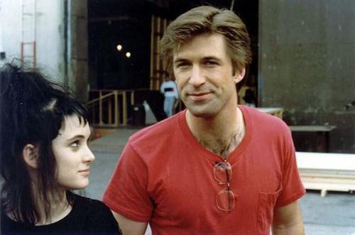 Alec Baldwin e Winona Ryder sul set di Beetlejuice