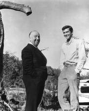 Alfred Hitchcock e Anthony Perkins sul set di Psycho 1960