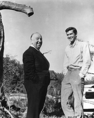 Alfred Hitchcock e Anthony Perkins sul set di Psycho 1960