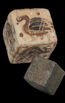 Dadi greci antichi, argilla e bronzo, 580-570BCE