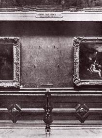 Il Louvre mancante della Gioconda dopo il furto nel 1911