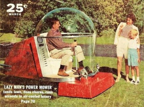 Tagliaerba futuristico negli anni '50