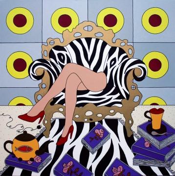 Giampaolo Atzeni - La Poltrona della felicità 2014, acrilico su tela 100 x 100