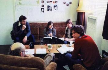 Leia, Luke e Han durante una lettura per L'impero colpisce ancora, c. 1979