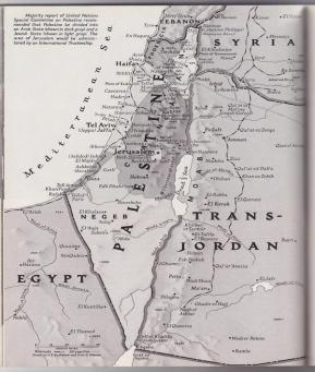 Mappa della Palestina, 1947 dal National Geographic