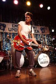 Michael J. Fox sul set di Ritorno al futuro, prova Johnny B. Goode, 1985