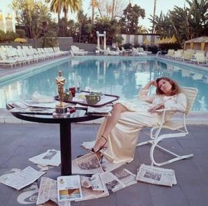 Party post Oscar. Faye Dunaway, Beverly Hills Hotel 1977