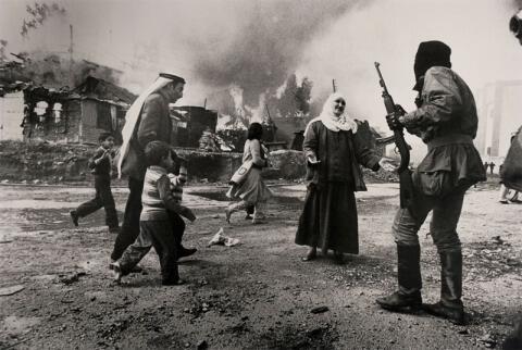 Profughi palestinesi si rifugiarono nel quartiere di Beirut di La Quarantaine, Libano