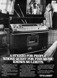 Pubblicità del registratore a cassette stereo Sony CF-580, 1978