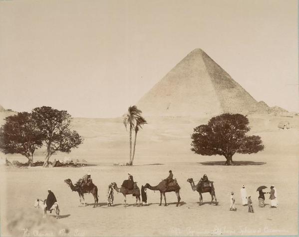 Una carovana nelle piramidi di Giza, 1860 circa