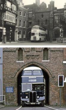 Bus appositamente progettato per adattarsi al North Bar Gate di Beverley, East Yorkshire, Regno Unito. 1950