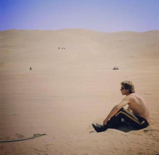 Harrison Ford fa una pausa sul set de Il ritorno dello Jedi, 1982