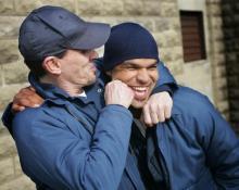Robert Knepper (T-Bag) e Amaury Nolasco (Sucre) sul set di Prison Break