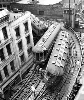 Un incidente ferroviario nel North Shore di Chicago il 24 mag 1953