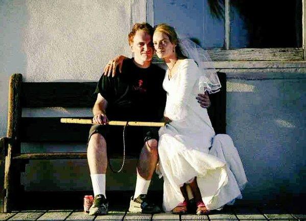 """Quentin Tarantino e Uma Thurman in una pausa nelle riprese di """"Kill Bill - Volume 2"""" (2004)"""