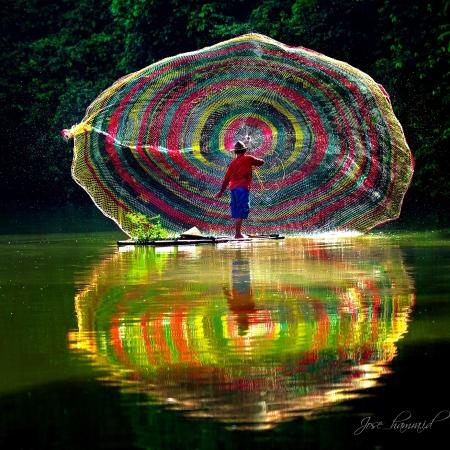 Rainbow Fishing Net by Jose Hamra
