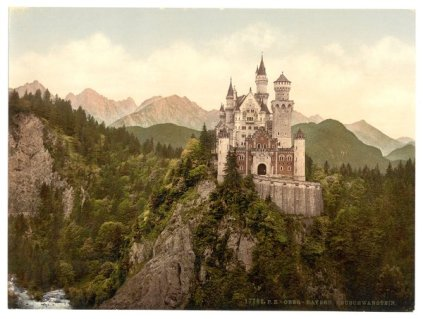 1890, Una stampa photochrome del Castello di Neuschwanstein, Baviera, Germania