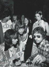 Keith Richards, Mick Jagger, e Bob Dylan alla festa del 29° compleanno di Jagger, Luglio 1972 a New York City
