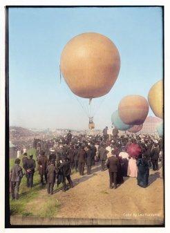 Gara di mongolfiere a Berlino, 1908. Foto colorata da Laiz Kuczynsk