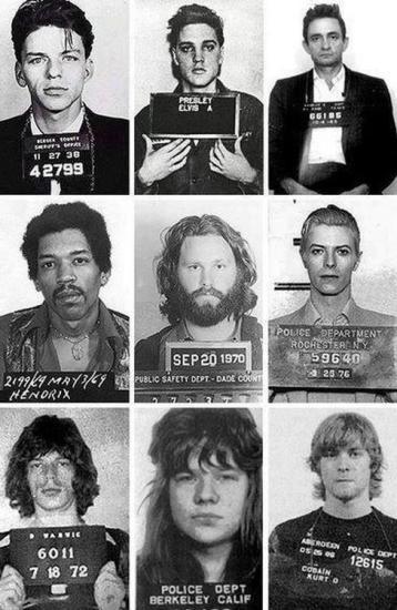 Frank Sinatra, Elvis, Johnny Cash, Jimi Hendrix, Jim Morrison, David Bowie, Mick Jagger, Janis Joplin e Kurt Cobain