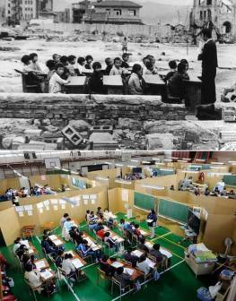 Giappone. Sopra: Un mese dopo Hiroshima, 1945. Sotto: un mese dopo il terremoto e tsunami, 2011