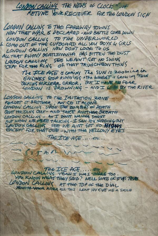 Testi scritti a mano da Joe Strummer per London Calling, 1979