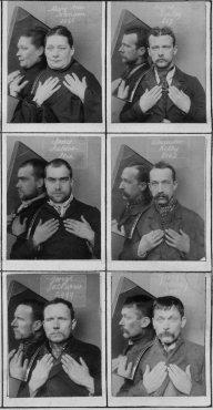 Alcune delle prime foto segnaletiche al mondo che includevano le mani e il riflesso allo specchio, 1980 circa