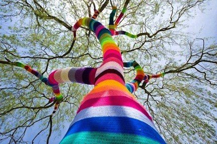 Winter Rainbows - Yarn Bombing Guerrilla
